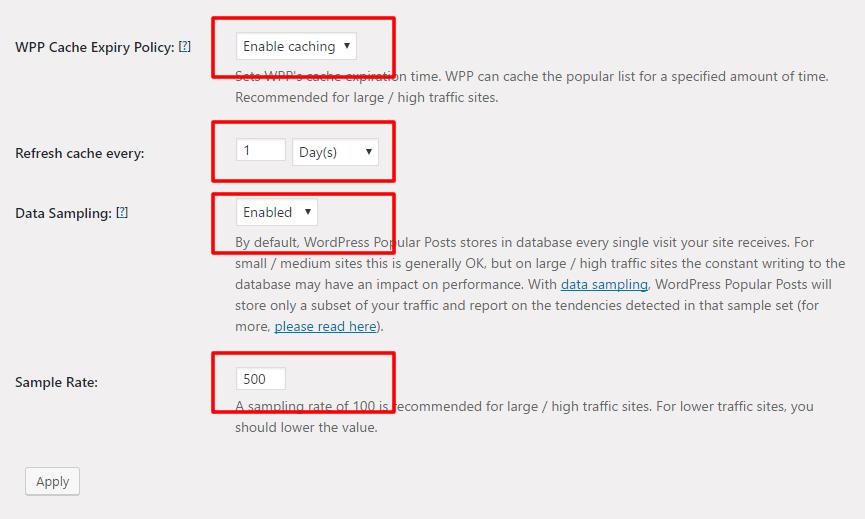 WordPress Popular Postsの設定画面
